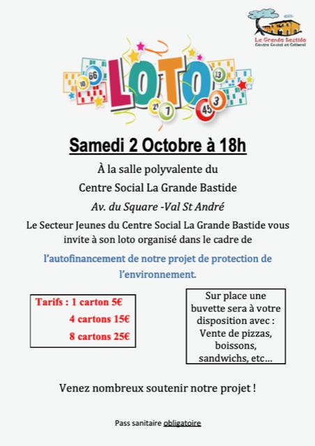 Affiche loto centre social et culturel la grande bastide