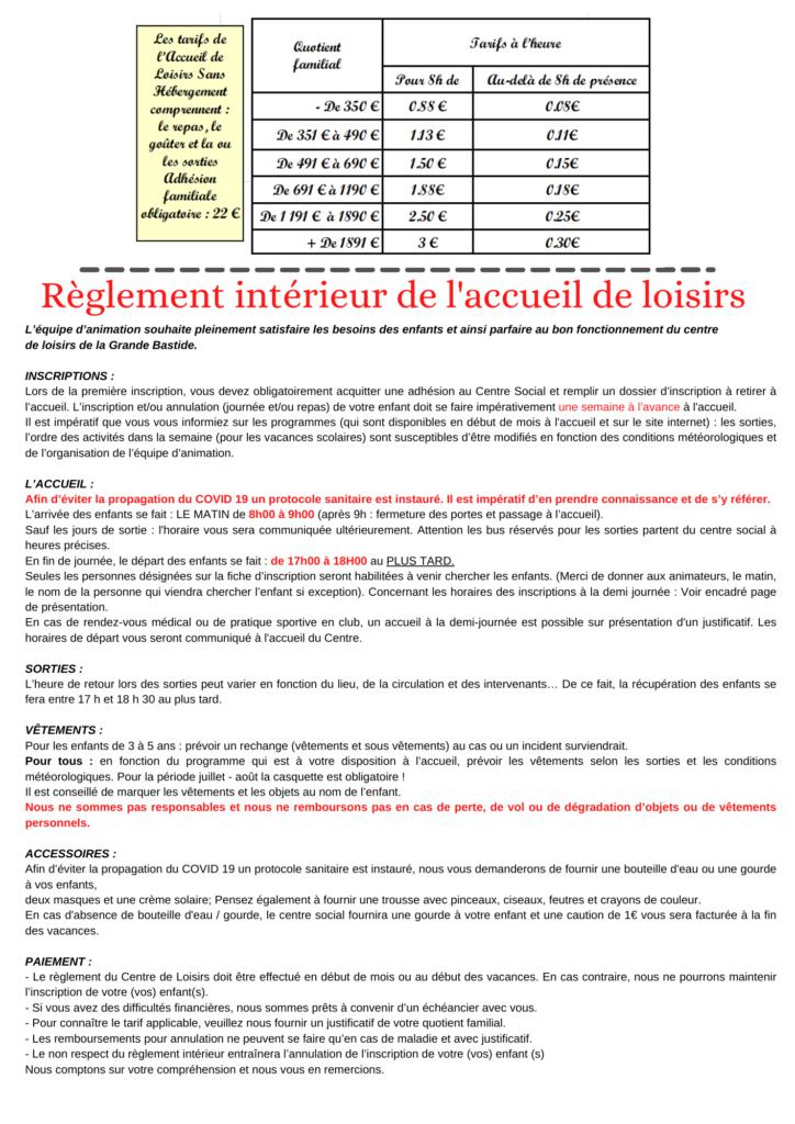 Programme d'activité ACM Toussaint règlement intérieur